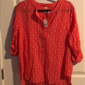 LOFT Orange blouse with rolled sleeves